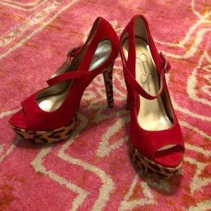 NWOB Jessica Simpson Peep Toe Red Leopard Pumps